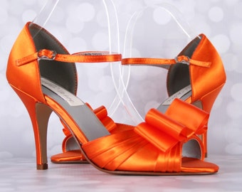 Orange Wedding Shoes, Orange Wedding, Wedding Accessories Orange, Bow Wedding Shoes, Mary Jane, Ankle Strap, Orange Bridal Shoes