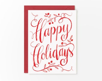 Happy Holidays calligraphy card