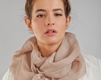 Long pleated fashion silk scarf - oversized black silk scarf - nude silk scarf - Christmas gift idea for her