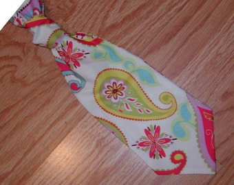Boys tie..Wide Paisley..custom made. You can choose to  match your little girls dress.