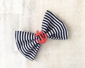 Rockabilly Pin up Navy Blue & White stripe Nautical Sailor Hair Bow Clip with Red Anchor