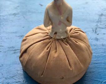 Vintage Porcelain Doll Pin Cushion