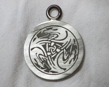 Celtic Jewelry - Handmade Celtic Eagle Heads Design Pendant Etched in Nickel - Ready to Ship