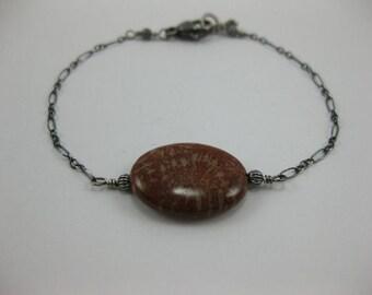 Fossil Coral - Oxidized Sterling Silver Bracelet - 3162