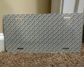 Grey Quatrefoil BLANK metal license plate for personalization