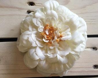 Cream Zinnia Silk Flower