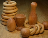 Deluxe Montessori Inspired Natural Wooden Baby Toy Shower Gift Set