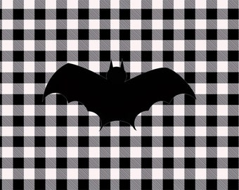 Halloween Bat Black and White Buffalo Plaid Disposable Placemats - set of 12