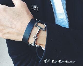 Equestrian Bracelet, Horse Bracelet, Leather Horse Bracelet, Snaffle Bit Bracelet