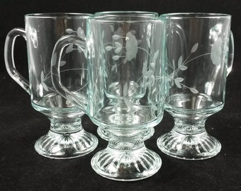 Princess House Heritage 4 Crystal Footed Hot Beverage/Irish Coffee Mug