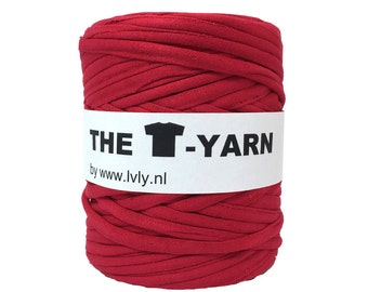 The t-shirt yarn 120-135 yards, 100% recycled cotton tricot yarn, red with a touch of pink  220
