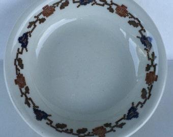 Warwick China Salad Bowl Ironstone Restaurant Ware Needlepoint pattern 4049 B1 -11 -A3 conic round edge 1944 (2) 1946 (1)