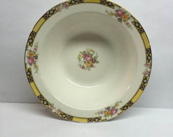 5 inch Berry Bowl Edwin M. Knowles China 9 inch  Made in USA 41-3 Yellow Band With Purple and Black Pink Roses
