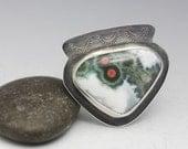 Ocean Jasper Ring, Sterling Silver, Green Red White, Natural Gemstone, Unisex Ring, Size 7