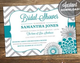 Printable Wedding Shower Invitation, Bridal Shower Invitation, Chevron, Floral, Teal, Blue, Gray, Printable File (INSTANT DOWNLOAD)