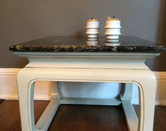 End Table with Marble Top  - Asian Inspired