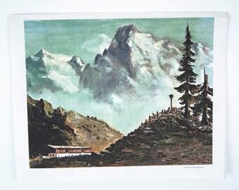 Vintage 1969 Dwight D. Eisenhower Austrian Mountain Scene Canvas Print