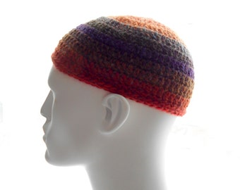 Crochet Kufi Hat, Wool - Blend Beanie, Multicolor Stripes with Rust Band, Men's Hat, Women's Hat, Medium Size