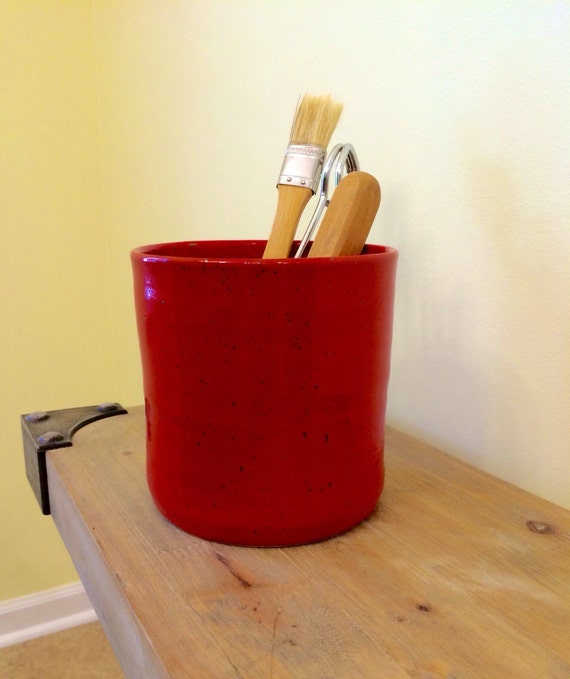 Ceramic Utensil Holder Red Pottery Utensil Jar Handmade