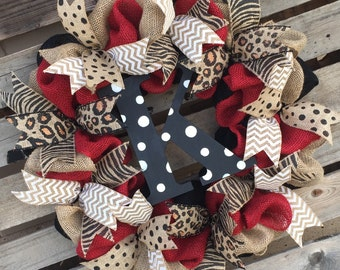Burlap Wreath, Monogrammed Wreath, Initial Wreath, Red and Black Wreath, Animal Print Wreath, Housewarming Gift, Door Hanger, Polka Dot