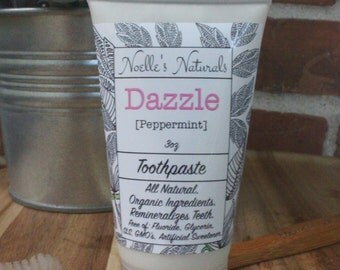 Remineralizing Toothpaste - Peppermint - 3oz - Fluoride free - All Natural - Non-Toxic - SLS free - Glycerin Free - Vegan