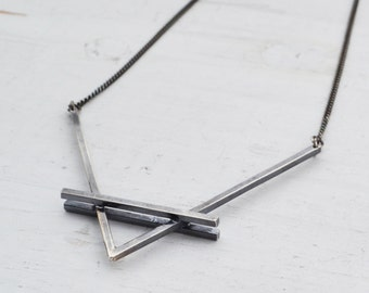 Double Vision V Necklace, Silver Chevron Necklace, Silver Pendant Necklace, Big V Necklace, Geometric Necklace, Sterling Silver Necklace