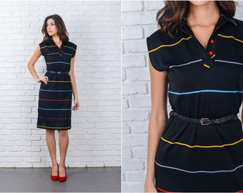 Vintage 70s Black Dress Striped Print Mod Knee length A Line Small S 7140 vintage dress 70s dress black dress striped dress small dress