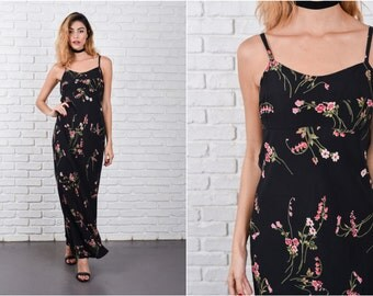 Maxi Black Grunge Dress Floral Print pink sweetheart small S 8301 vintage dress 90s dress maxi dress grunge dress