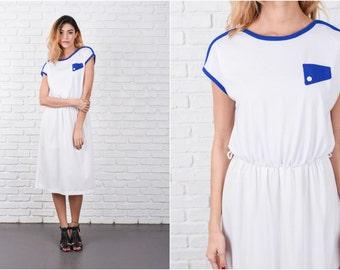 White Retro Dress Vintage 80s Blue Slouchy Drapey medium Small S M 8366