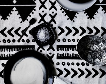 Charcoal Tribal linen tablecloth