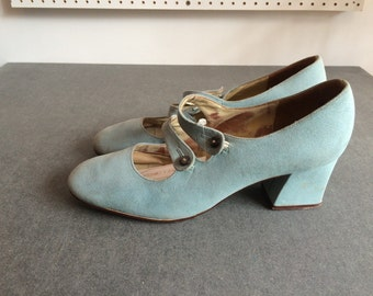 Vintage 1960s Baby Blue Double Strap Mary Jane Shoes Size 4 UK, 6.5 US, 37 EU
