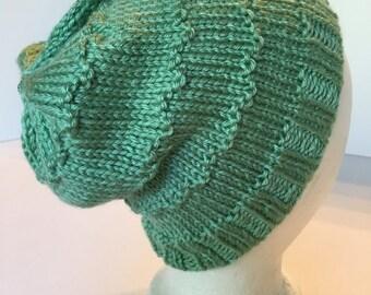 Handknitted Decorative Stitch Cap in Pistachio Green