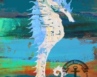 Aruba Seahorse | Palm Beach and Noord in Teals and Blues |  At Checkout, Choose Lustre Print or Gallery Wrapped Canvas