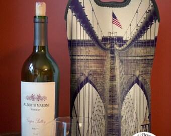 Wine Bag BYOB | Brooklyn Bridge NYC | Two Bottle Neoprene Wine Carrier |  Bar Accessory | Hostess Gift | Bridal Gifts | Custom Available