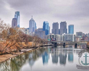 Philadelphia Winter Skyline from Kelly Drive Fine Art Photography Product Options and Pricing via Dropdown Menu