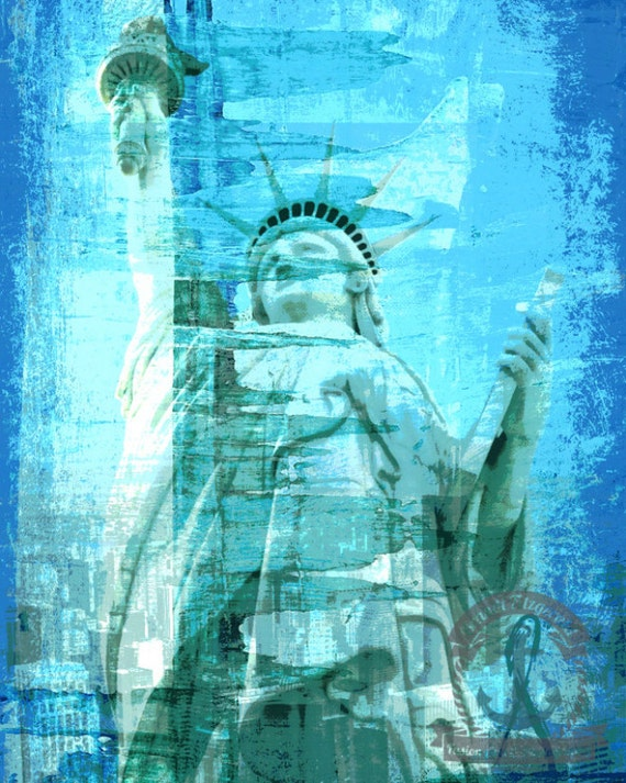 Liberty in Teal New York Statue of Liberty Skyline Inspired Product Options and Pricing via Dropdown Menu