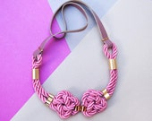 Pink Nautical Knot  Rope Necklace with leather cord and metal tube by pardes