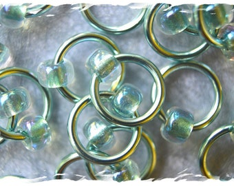 "Ringlets ""Seafoam"" stitch markers, ring markers, knitting markers, snag free, dangle free"