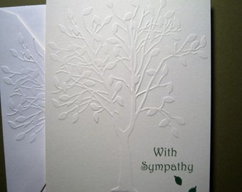 Embossed Leafy Tree Sympathy Card