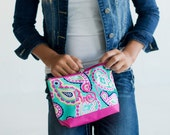 Paisley Monogram Cosmetic Case, Personalized Makeup Bag, Embroidered Cosmetic Bag, Toiletry Bag Women