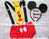 Mickey Mouse Birthday cake smash outfit suspenders FREE EARS clubhouse baby I am one 1 first tie 1st diaper cover necktie 9 12 18 24 toddler