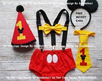 Mickey Mouse Birthday outfit cake smash suspenders clubhouse FREE EARS diaper cover bow tie or I am one tie costume Red Hat 12 18 24 toddler