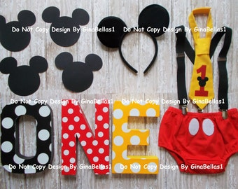 Mickey Mouse Birthday cake smash outfit letters ears suspenders I am One Tie diaper cover 9 12 18 toddler invitation Photo shoot Package