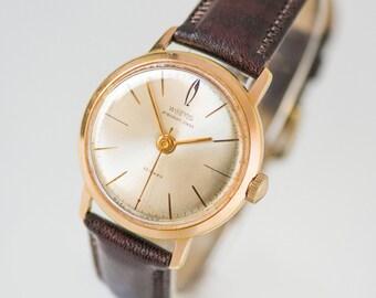 Gold plated AU20 men's wrist watch Vostok Precision cal.2809, classy men's wristwatch, rare Soviet watch shockresist, luxury leather strap