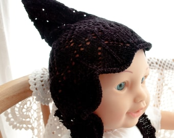 Upcycle, Repurposed, Recycled Black Sweater Baby Elf Pixie Hat Photo Prop