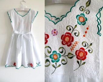 70s 80s Toddler Girl Summer Sun Dress Aqua White Embroidered - 2-3 y