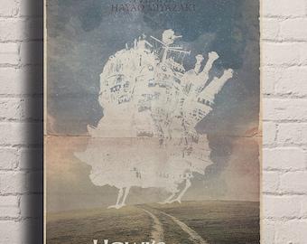 Studio Ghibli's Howl's Moving Castle Vintage Retro Style giclée Print