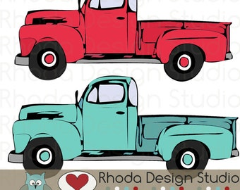 Red and Mint Vintage Pickup Truck Full Side Stamp Digital Clip Art Retro