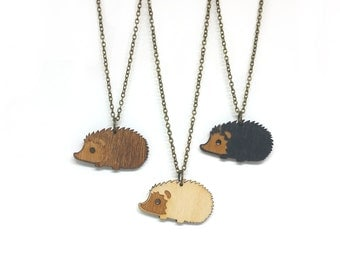 Hedge Hog Necklace - Handmade - laser cut - laser cut jewelry