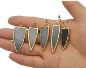 10% off SALE Natural Colorful Agate Slice Arrowhead Pendant with Electroplated 24k Gold Edge  - YOU CHOOSE (Lot G-1731)